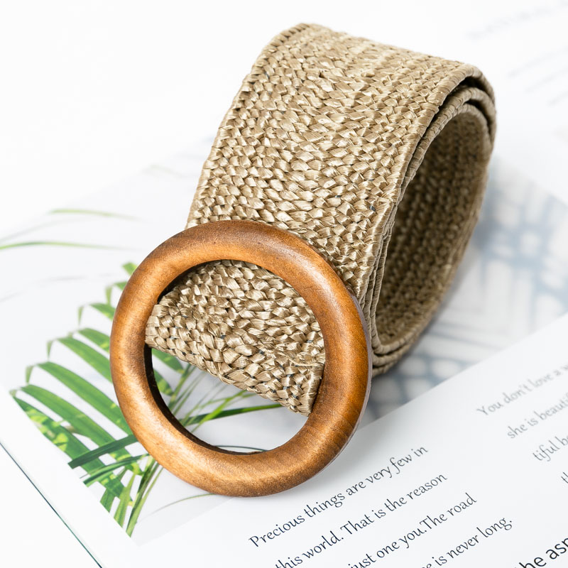 Conmoto Wooden Button Belt For Women Elastic Straw Belt Decoration for Dress Belt Casual Female Belt Accessories 10