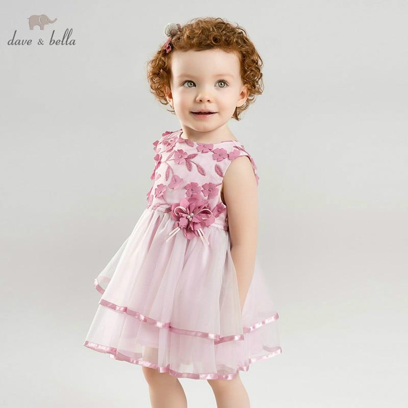 DBM9912 dave bella summer baby girl s princess floral dress children party wedding dress kids infant