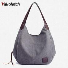 2019 Women Handbags Ladies Hand Bag Tote Canvas Bag Vintage Canvas Shoulder Bag Casual Leisure Bolsos Mujer Hobos Bolsas K101