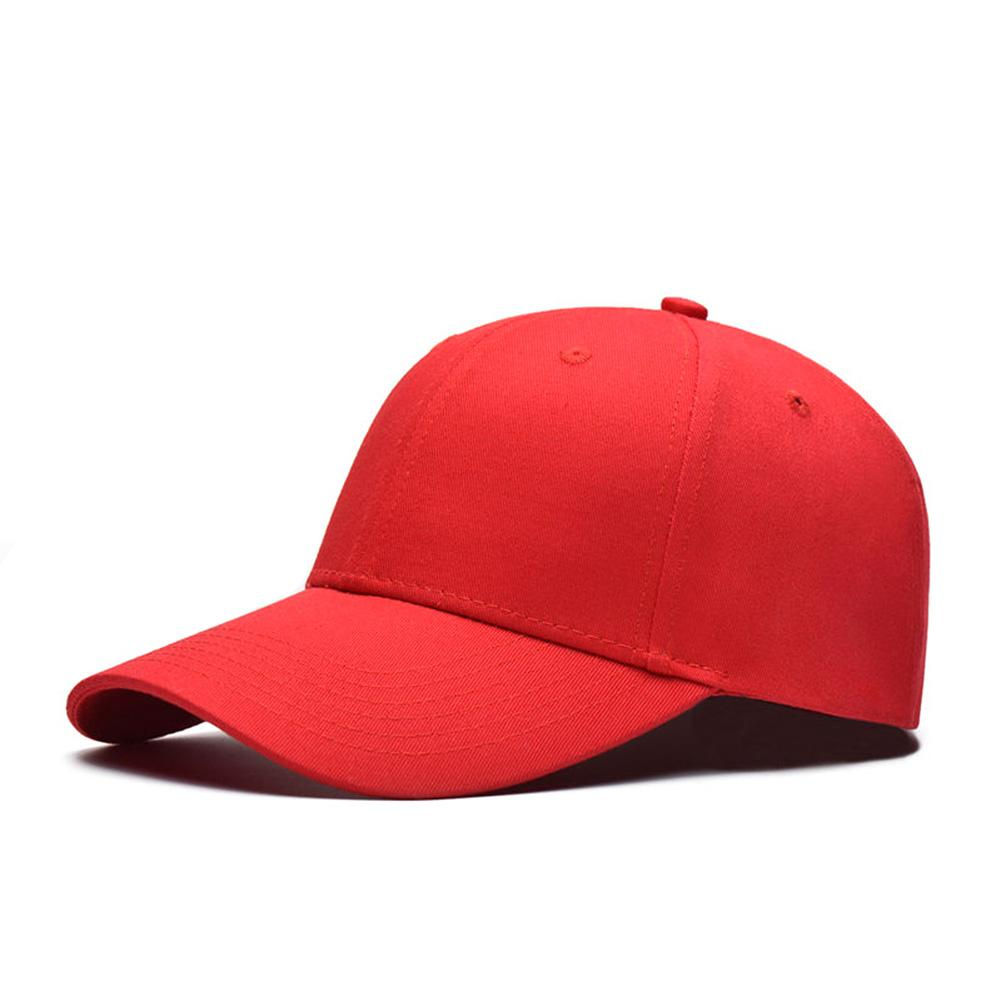 Men Women Plain   Baseball     Cap   Unisex Curved Visor Hat Hip-Hop Adjustable Peaked Hat Visor   Caps   Vigorous red Solid Color