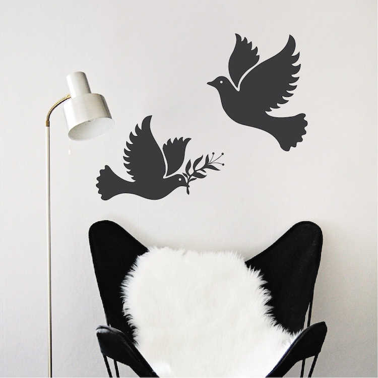 Peace Dove Vinyl Wall Stickers Freedom Birds Wall Decal Decor Living Room  Wallpaper DIY Self Adhesive Wall Tattoo Mural SA791