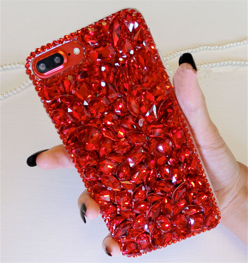 For Samsung S6 S7 Edge S8 S9 S10 Plus Note 5 8 9 Luxury Diamond Crystal Red Rhinestone Phone Case Soft Tpu Bling Back Cover Diy