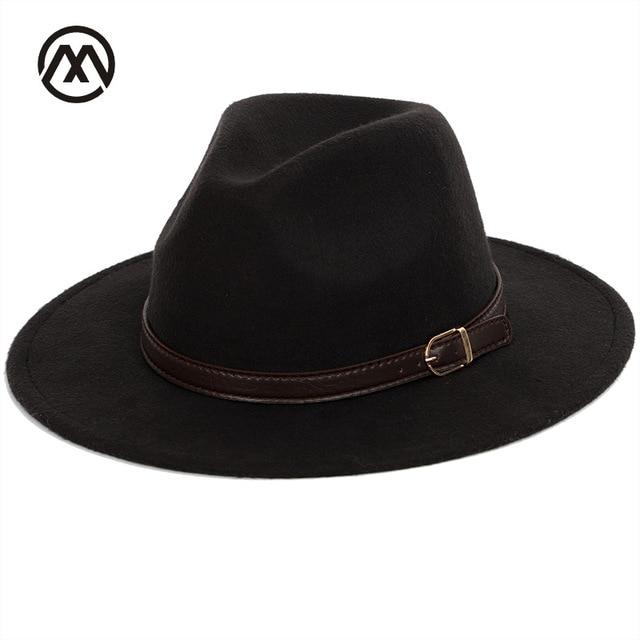 fe89e07eca8ae Bowler hat man men's fashion shallow fedora hats classic unisex solid color  belt gold buckle large