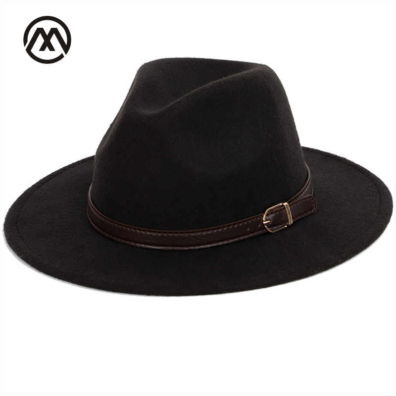 a64a8536044 Bowler hat man men s fashion shallow fedora hats classic unisex solid color  belt gold buckle large