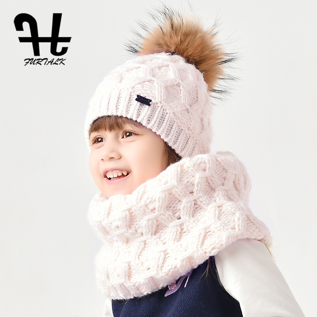 a633f563c35de FURTALK wool child winter hat scarf set for girls and boys real fur pom pom  hats and infinity scarves for kids age 2-8 years