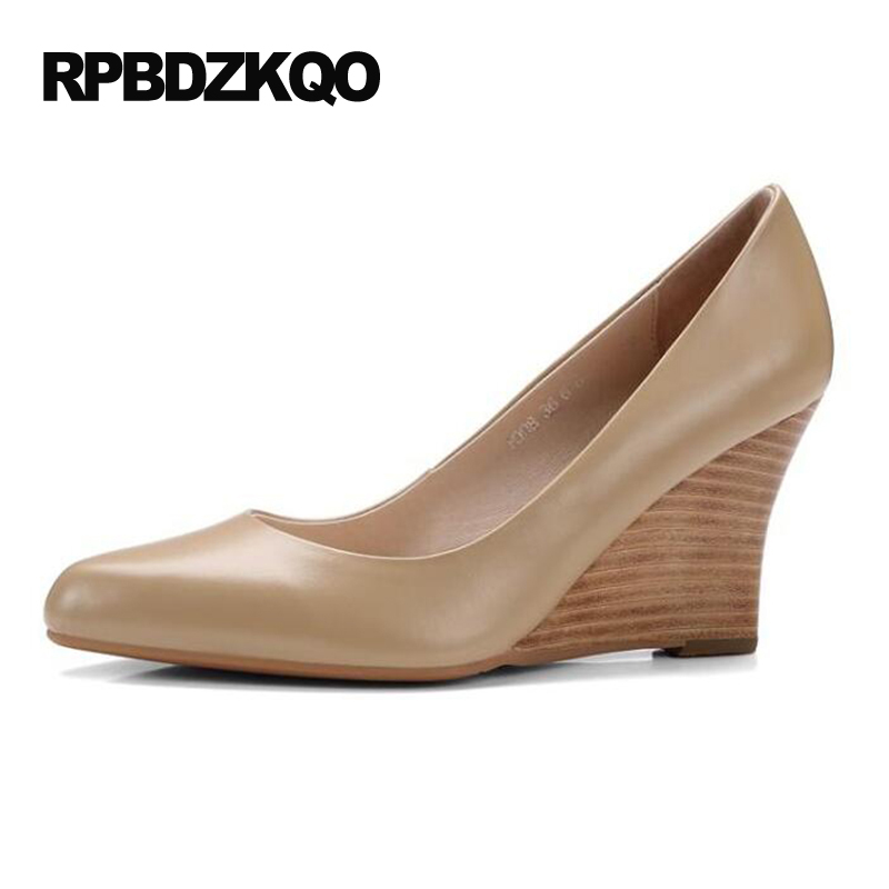 Size 4 34 Ladies Formal Shoes High Heels Small Autumn Nude Pumps Wedge Office Pointed Toe 2017 Genuine Leather Court Real купить дешево онлайн