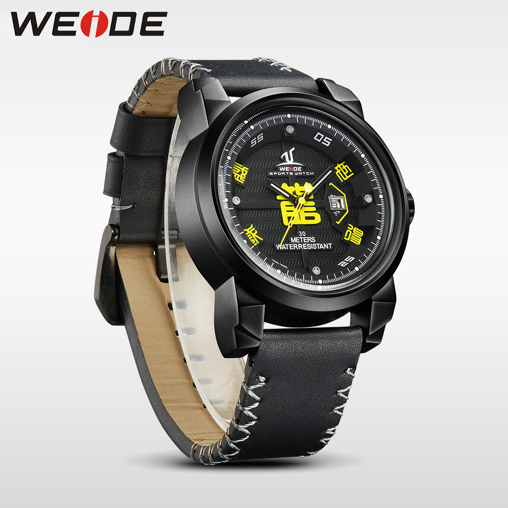 WEIDE brand Watch Men Waterproof High Quality Leather Strap Analog luxury Sport Quartz automatic Watch electronic wrist watches fashion luxury mens analog sport steel case quartz leather wrist watch 3447 brand new high quality luxury free shipping