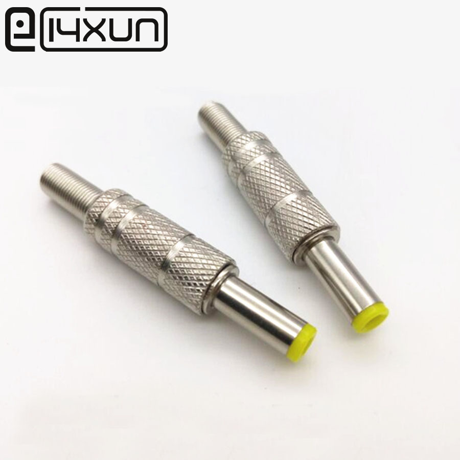 1pcs/lot Metal 5.5*2.1 5.5x2.1mm/5.5mm * 2.5mm 5.5*2.5mm DC Power Male Plug Jack Adapter Connector Plug With Yellow Head