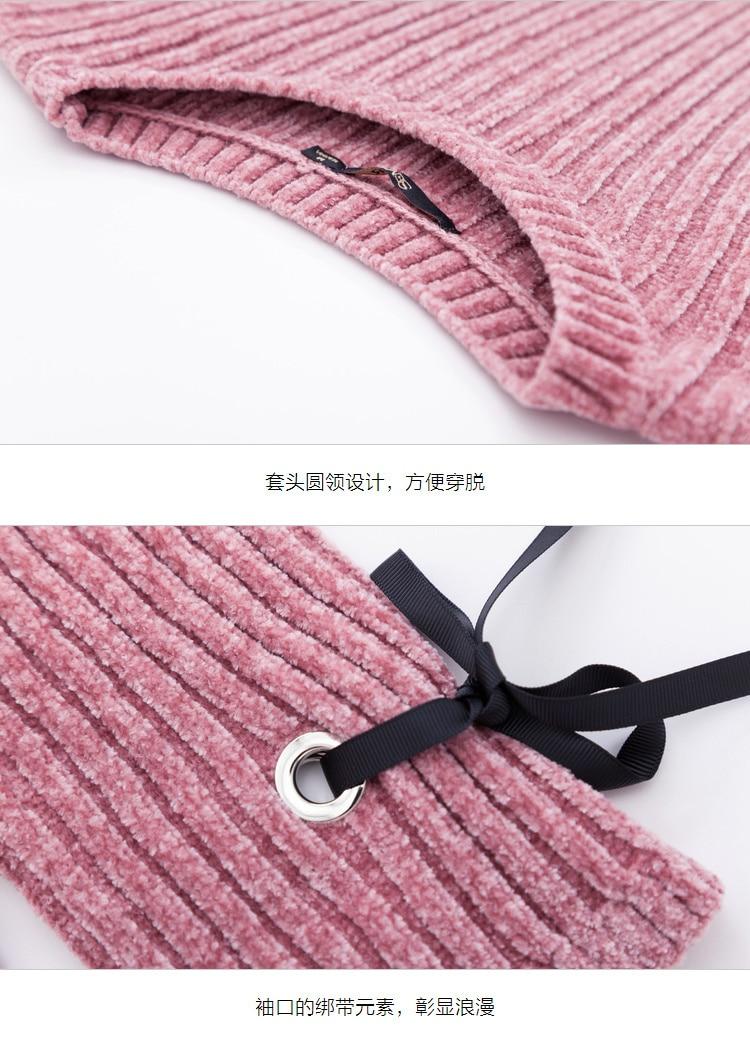 SEMIR Women Rib-Knit Flared Sweater Dress in Soft Chenille Yarn with Ties at Cuff Ribbing at Crewneck Long-sleeved Knit Dress 45