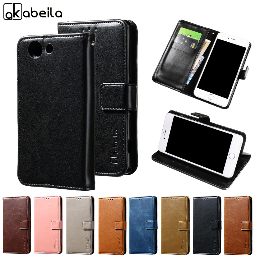 AKABEILA Phone Cover Case For Sony Xperia Z3 Compact Z3 Mini Z3C D5803 D5833 M55W 4.6 inch Wallet PU Leather Cases Card Hold