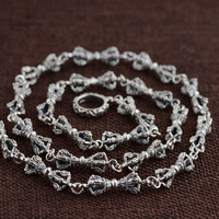 FNJ 925 Silver Necklace 7mm Punk Chain Anchor Cross Necklaces for Women Men Thai S925 Solid Silver Jewelry Making