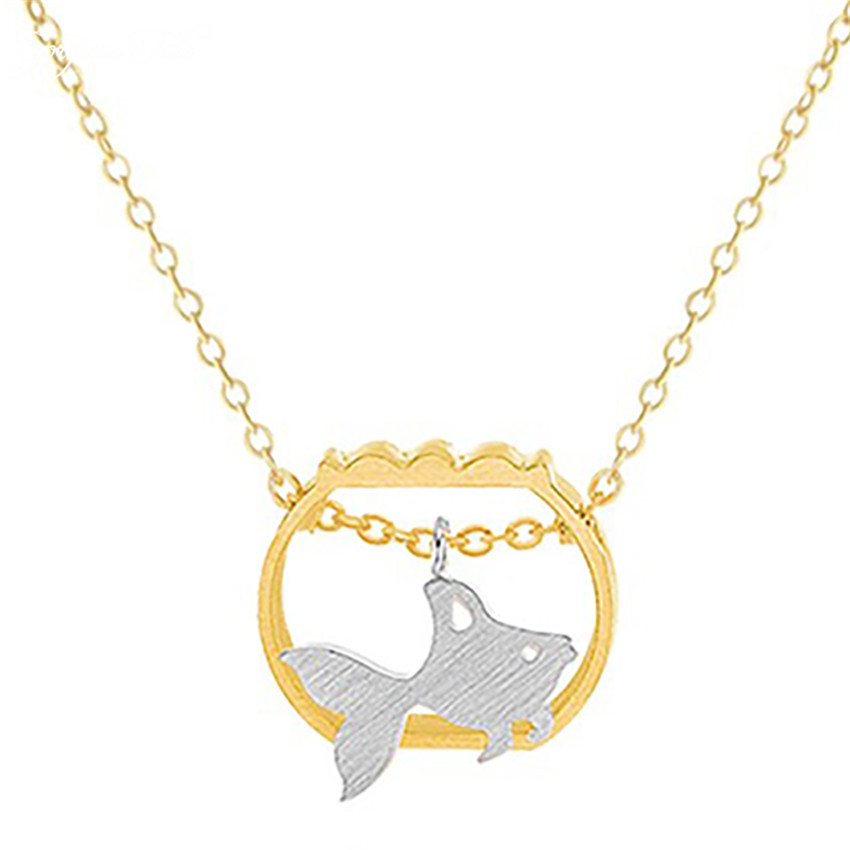 Trendy Stainless Steel Fine Jewelry Women Boho Gold Plated Silver Cute GoldFish In A Fishbowl Charm Necklace Collares Mujer BFF