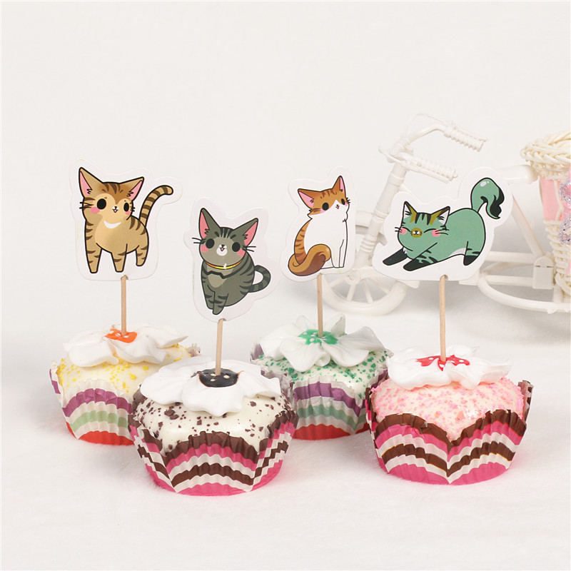 24pcs Lot Cute Cats Theme Cupcake Topper Wedding Party Cake Decorations Kids Favorite Birthday