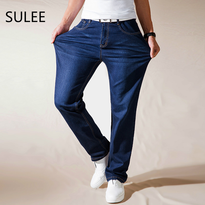SULEE Brand Mens Jeans Relax Loose Causal Straight Stretch Denim Jeans Size 30 32 34 36 38 40 42 44 for Autumn Jeans sulee brand autumn winter mens heavyweight stretch denim jeans casual fit loose relax trousers pants plus size 42 44
