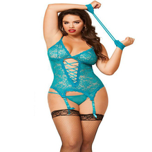 Sexy Plus Size Sheer Straped Red Lace Chemises Lingeries Banded Camisoles Intimates Sets with Garter & Thong Underwears XXXL 6XL