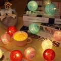 Thai Style Cotton Ball LED 2 AA Battery Powered Garland String Lights Fairy Wedding Romantic Decor Party Patio Xmas Gift