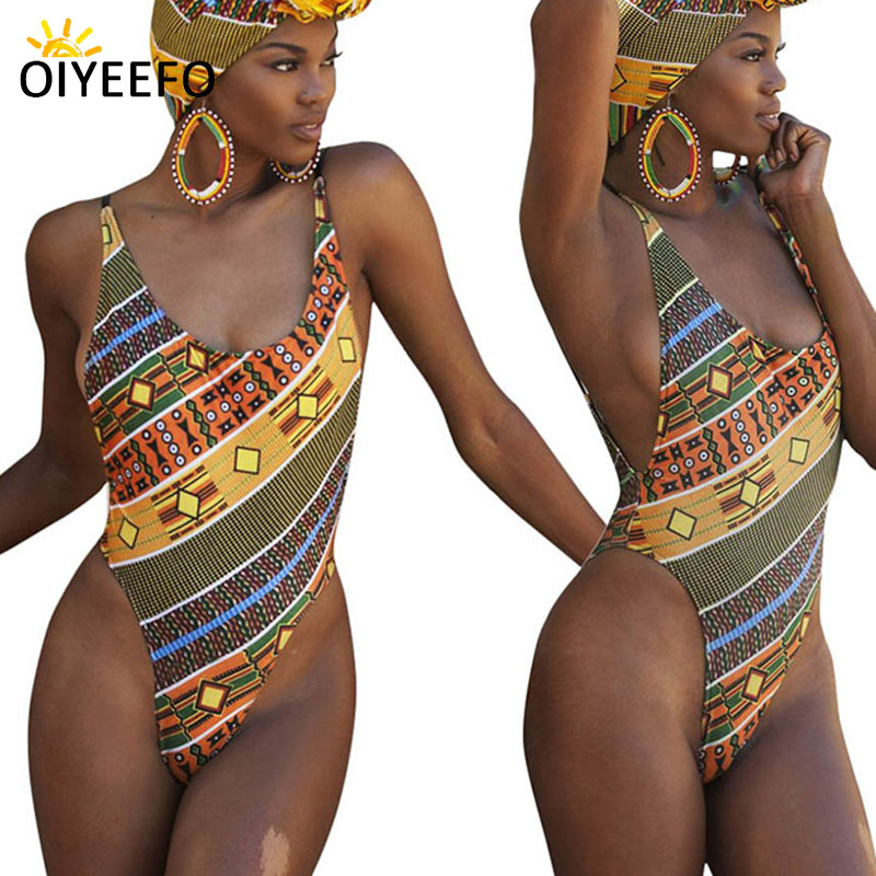 Oiyeefo Sexy African Swimwear Female One Piece High Cut Swimsuit Padded Monokini Women Beach Jumpsuit Large Size Plavky Damy XXL one piece swimsuits trikinis high cut thong swimsuit sexy strappy monokini swim suits high quality denim women s sports swimwear
