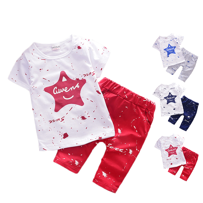 2PCS Baby Boys Sets Summer Kids Clothes Star Printed Short Sleeve T shirt + Boys Shorts Toddler Infantil Baby Outfits Suits D25 x56 kids baby boys summer t shirt tops stripe beach pants outfits clothes sets 1 5y hot