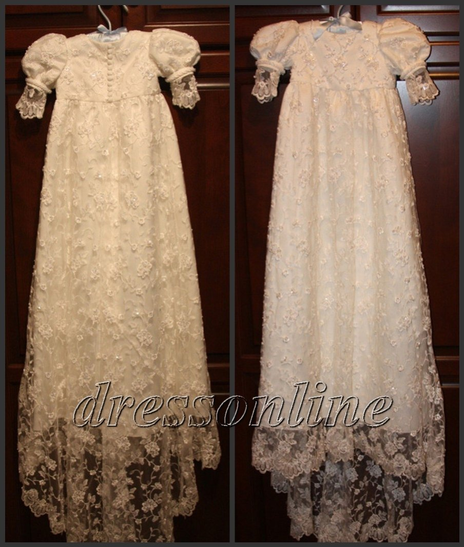 Free Shipping Custom Made White Ivory Lace Baby Dress