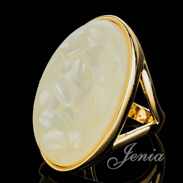 JENIA Brand Excellent Rose Gold Color Big White Oval Stone Shell
