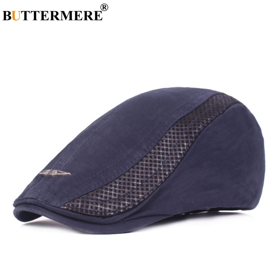 BUTTERMERE Patchwork Hat Navy Duckbill-Hat Flat-Cap Spring Beret Men Plain Adjustable
