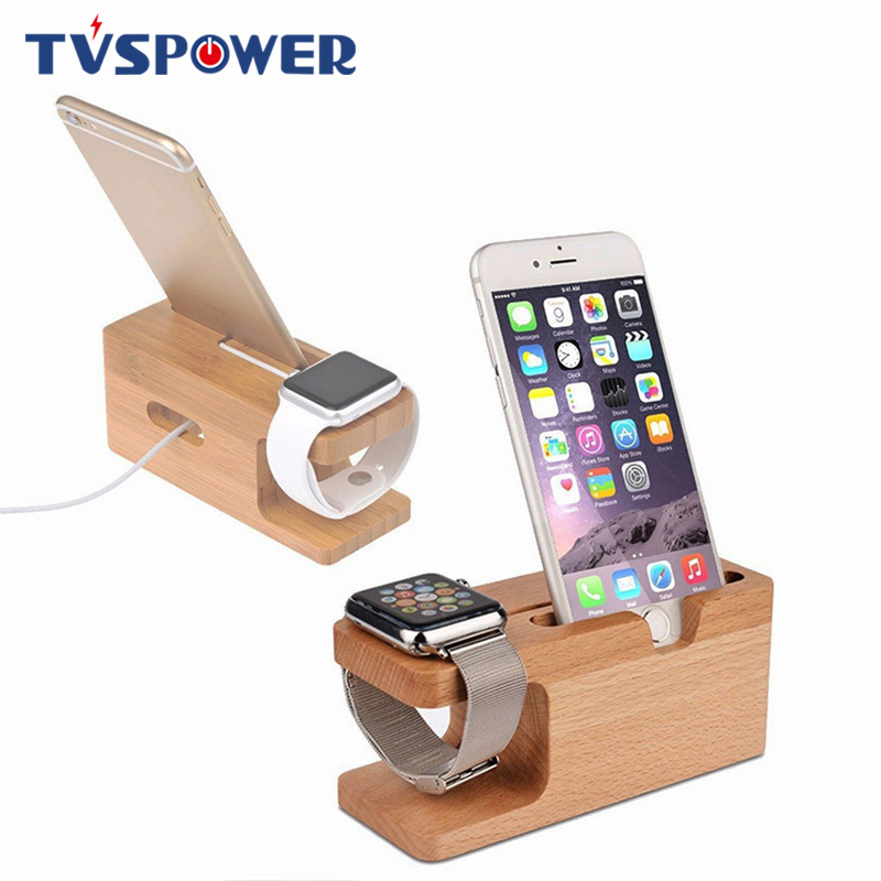 Charging-Dock-Station Smartwatch-Charger Phone-Stand Wood-Holder Apple Watch Bamboo Samsung
