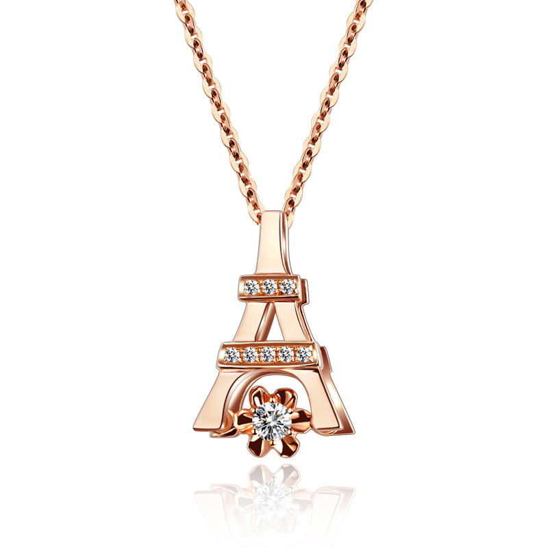 Paris Tower Heart Series 18K Gold Rose Gold Diamond Necklace Female Diamond Pendant Chainbone Chain Platinum 18krgp four leaves clover diamond pendant alloy necklace gold