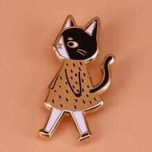 Эмалированная булавка для ходячих кошек, Милая брошь в виде животного, значок для кошки, леди, золотые, черные, художественные ювелирные изделия для женщин, рубашки, куртки, рюкзаки, аксессуары