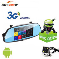 Car DVR 3G WCDMA 7 0 Inch Touch Android Rearview Mirror DVRS Dual Lens GPS Navigation