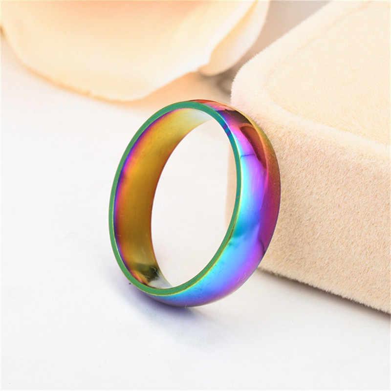 6 mm arco-íris colorido anel para mulheres homens titânio aço anel de banda de casamento amante casal anéis neutro moda jóias presente
