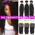 Brazilian Virgin Hair With Closure Brazilian Deep Wave With Closure 3 Bundles Human Hair Weave Brazilian Deep Wave With Closure