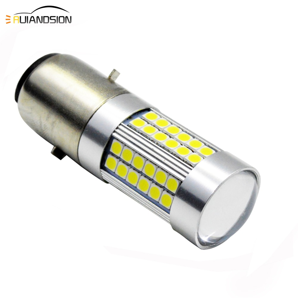 BA20D LED Sam'sung 3030 66smd Motorcycle Bike Hi/Lo Bixenon Headlight Lamp Bulb DC 6V 12V 6000-6500K Xenon White 1000LM