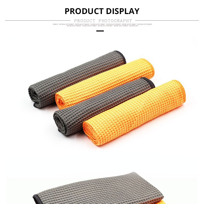 Car Wash Towel Glass Cleaning Water Drying Microfiber Window Clean Wipe Auto Detailling Waffle Weave for Kitchen Bath 4040 cm (4)