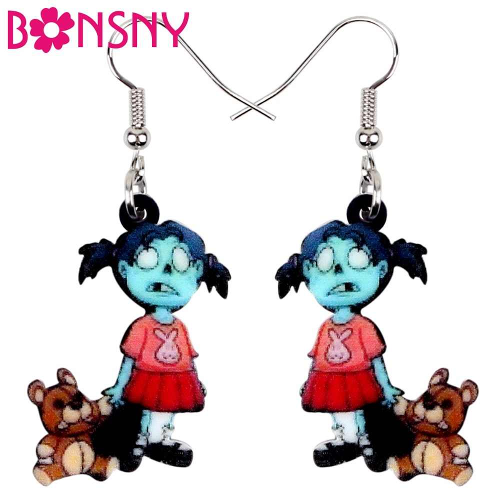 Bonsny Acrylic Halloween Zombie Girl Toy Earrings Drop Dangle Cartoon Decorations Jewelry For Women Party Games Charms Wholesale