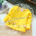 Free shipping Retail new 2015 spring autumn baby outerwear kids tops girl cotton cardigan coat children's embroidery  jacket