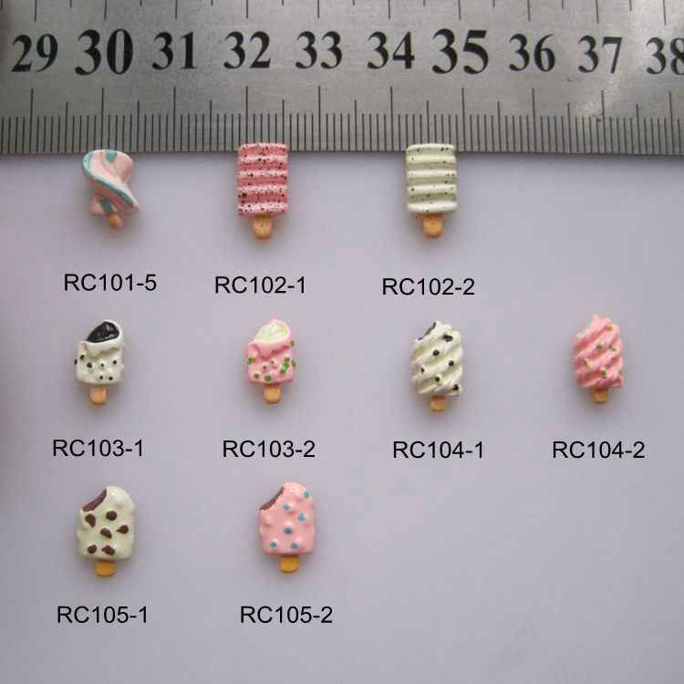 RC101/105 30pcs/bag Cartoon Chocolate Strawberry Ice-Lolly Ice-Sucker Resin Cartoon Deco Nail Art Decoration Nail DIY Deco