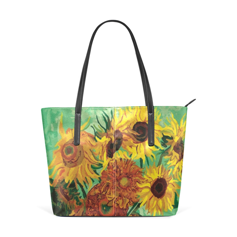 Women Shoulder Handbag Sunflowers Women Purse PU Leather Large Capacity Bag for Girls Van Gogh Lady Work Tote Shoulder Bag New la maxza gifts for valentine s day leather tote bag for women large commute handbag shoulder bag zipper women s work satchel bag
