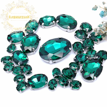 30pcs 5 SIZES NEW!!! MIX Malachite green OVAL Size Crystal Glass Sew-on Rhinestones Silver Bottom DIY Womens Dresses and shoes