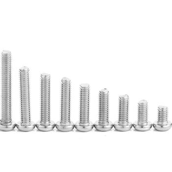 цена на 10pcs/lot M3 M4 M5 M6 35/40/45/50/55/60 mm A2-70 304 Stainless Steel Cross Phillips Pan Head Screw Round Bolt