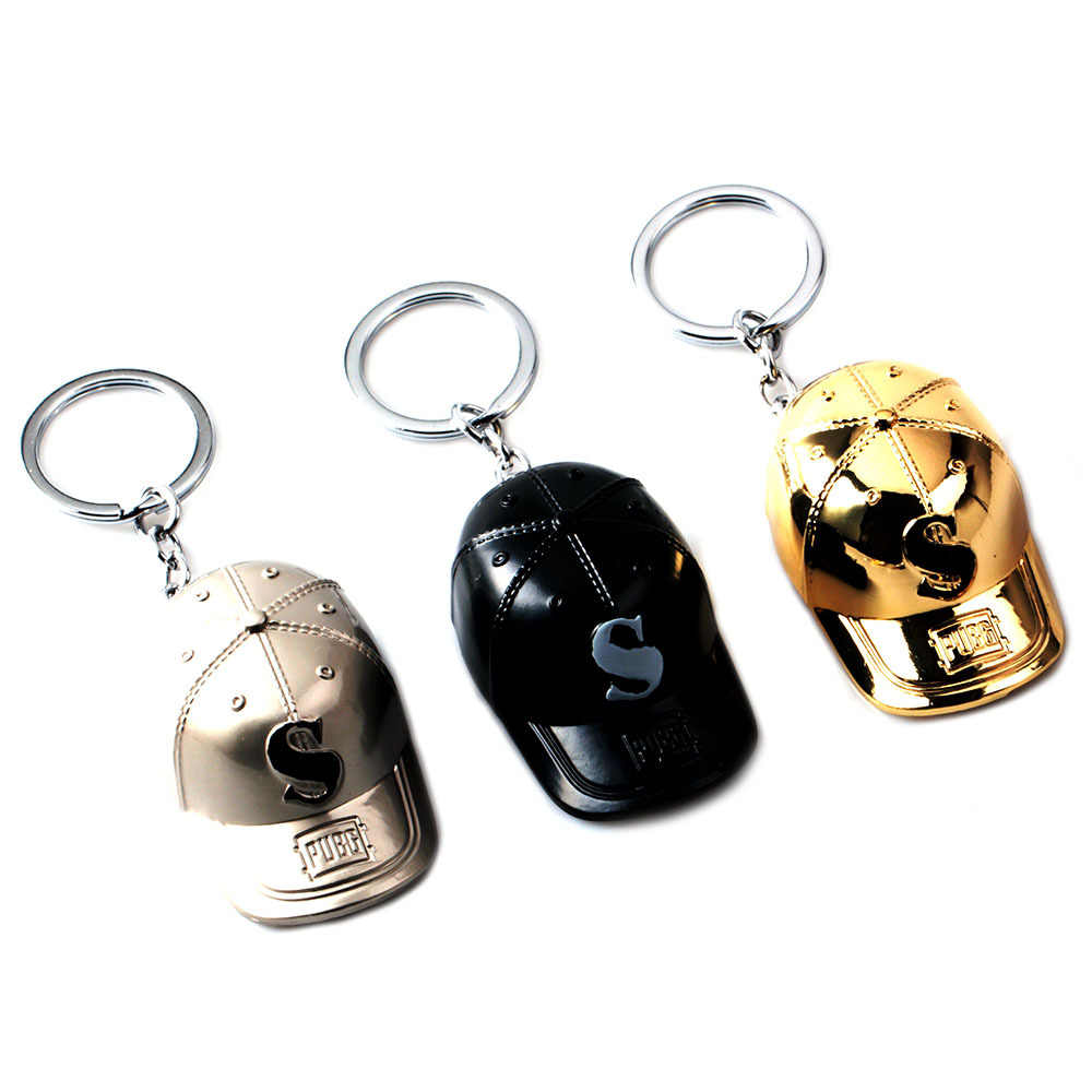 1c94d48591 ... Game PUBG Gold Pan Key Chains for Men battlegrounds Cap Keychain Women  Jewelry for Boys Gift