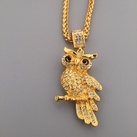 18K Gold Plated Iced Out Owl Pendant Hip Hop Bling Full Rhinestone Charm Link Chain Necklaces
