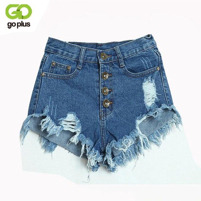 GOPLUS 2019 Summer Women Candy Color Hole Denim Shorts High Waist Solid Casual Jeans Shorts Vintage Cotton Short Pants Plus Size