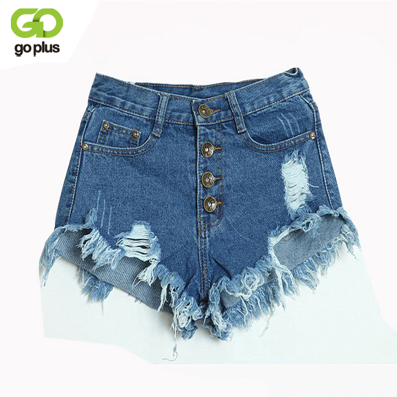 GOPLUS 2019 Summer Women Candy Color Hole Denim   Shorts   High Waist Solid Casual Jeans   Shorts   Vintage Cotton   Short   Pants Plus Size