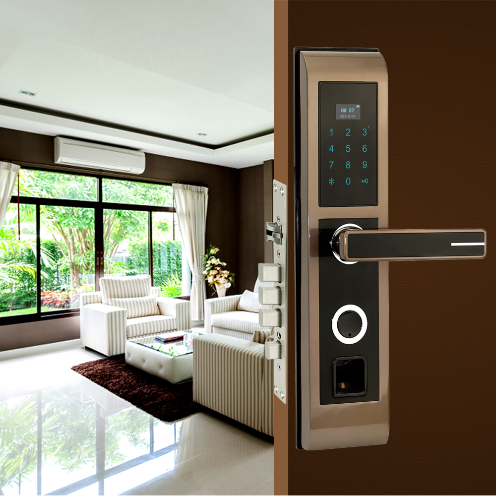Digital Fingerprint Door Lock Keyless Smart Entry Anti-theft Lock For Office Home Security With RFID Card Reader все цены