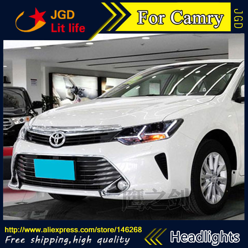 Free shipping ! Car styling LED HID Rio LED headlights Head Lamp case for Toyota Camry 2015 Bi-Xenon Lens low beam