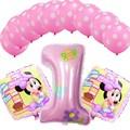 13 unids/set Lindo Mickey Globos de la Hoja del Día de Los Niños Juguetes de Cumpleaños Decoración Globo Globos Minnie '1' Años de edad para Baby Girl