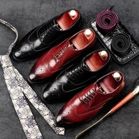 RUIMOSI Round Toe Man Wing Tip Brogue Shoes Genuine Leather Formal Dress Oxfords British Style Wedding