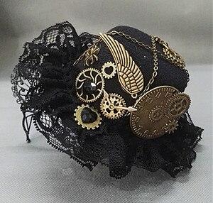 Image 2 - Nieuwigheden Steampunk Victoriaanse Versnellingen Mini Top Hat Kostuum Haar Accessoire Handgemaakte Met Stoom Punk Versnelling Bril