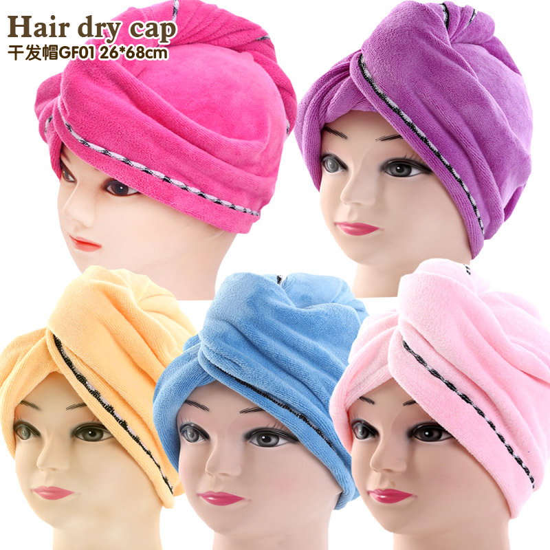 women bathroom super absorbent quictk-drying microfiber Bath towel hair dry cap salon to ...
