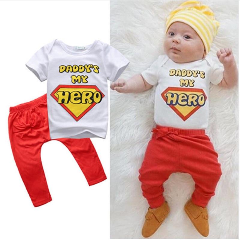 2pcs Toddler Kids Baby Boy Κορίτσι T-shirt Tops + Παντελόνι Καλοκαίρι Casual Daddy Είναι Hero Στολή Ρούχα Ένδυση